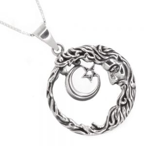 Celestial Sterling Silver Jewellery: Oxidised Man in the Moon and Star Pendant (27mm Diameter) (N132)