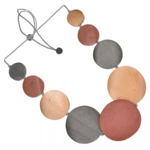 Adjustable Grey Cord Mid-Length Necklace with Reddish Brown, Metallic Caramel and Charcoal Grey Painted Wooden Discs (SB44)C)
