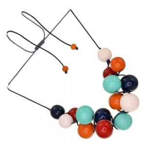 Gorgeous Adjustable Cord Cluster Necklace with Glossy Red, Orange and Mint Resin Balls (SB67)