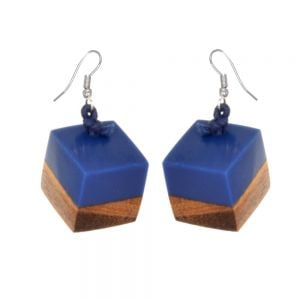 Navy offset resin and natural wood cube drop earrings 1.8 cm (SB65)N