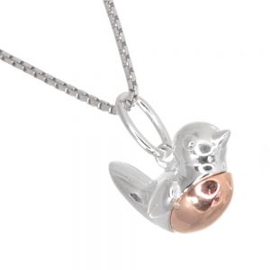 Whimsical Sterling Silver Jewellery: Larger Version Robin Pendant with Rose Gold Detail (15mm x 15mm x 7mm) (N278)