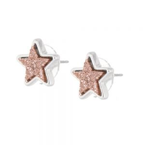 Celestial Fashion Jewellery: Delicate 1.5cm Iridescent Pretty Peach Druzy Stars Stud Earrings (M164)B)