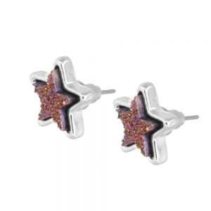 Celestial Fashion Jewellery: Delicate 1.5cm Iridescent Dark Purple Druzy Stars Stud Earrings (M164)A)