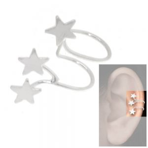 Contemporary Sterling Silver Jewellery: Wide Ear Cuff with Three Stars (16mm x 19mm) (E12)