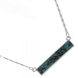 Delicate Fashion Jewellery: Dainty Necklace with Turquoise Bar Pendant (I38)A)