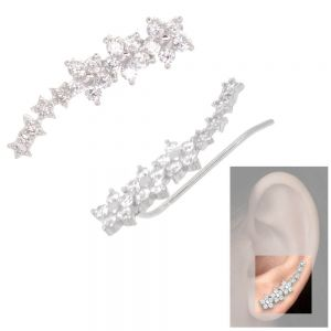 Fabulous Sterling Silver Jewellery: CZ Crystal Flower and Star Ear Crawlers (6mm x 24mm) (E649)