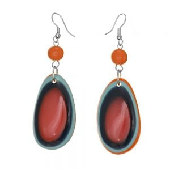 Striped Red multi-coloured resin Pebble drop earrings 7.5cm x 2.4cm) (SB63)RD