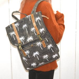 Handcrafted Bhrayna Bags: Black Canvas Coco Backpack with White Palm Tree Print (BG5)