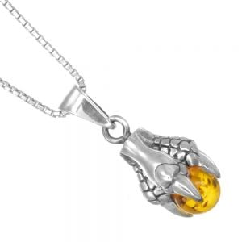 Unusual Sterling Silver Jewellery: Oxidised Dragon Talon and Amber Orb Pendant (10mm x 24mm) (N91)