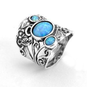Aviv Sterling Silver Jewellery: Gorgeous Tall Ring with Floral Design and Three Blue Opals