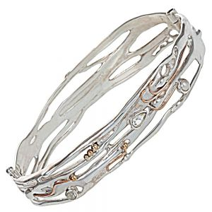Banyan Sterling Silver Jewellery: Hinged Bangle Set With Green Amethyst and Pearl