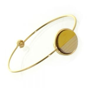 Beautiful Fashion Jewellery: Simple Gold Bangle with Wooden and Buttercup Yellow Acrylic Circle (6cm Diameter) (I19)Y)