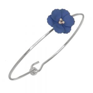 Cute Fashion Jewellery: 6cm Diameter Bangle with Matt Blue Flower (I58)C)