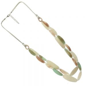 Boho Fashion Jewellery: 96cm Long Cord Necklace with Long Beads in Green, Mother of Pearl and Tusk Hues (EV4)B)