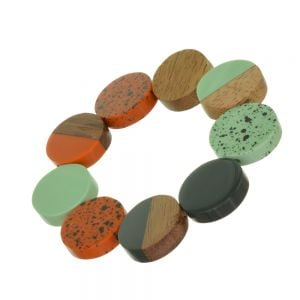 Striking Stretch Bracelet with Glossy Orange, Mint and Charcoal Coins, Wooden Discs and Speckled Effect Elements (SB22)D)