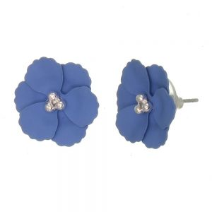 Cute Fashion Jewellery: 1.5cm Poppy Flower Stud Earrings with Matt Blue Petals (I57)C)