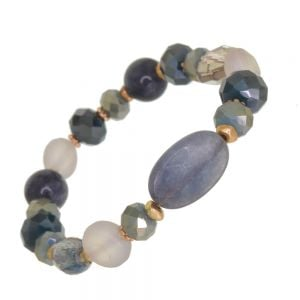 Gorgeous Fashion Jewellery: Gold and Blue Stretch Bracelet with Clear Crystals and Semi-Precious Beads (DX4)D)