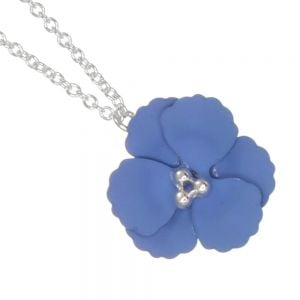 Cute Fashion Jewellery: Delicate Silver Chain Necklace with Matt BlueFlower Pendant (I59)C)