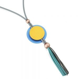 Festival Fashion Jewellery: Extra Long Neoprene Necklace with Pendant in Bold Blue and Yellow with Large Disc and Tassel Pendant