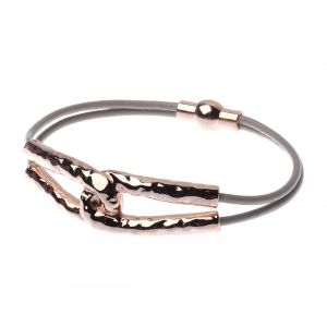 Multi thong necklace and bracelet rose gold