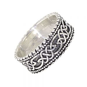 Sterling Silver Jewellery: Chunky Ring with Celtic Knotwork and Dotted Edges