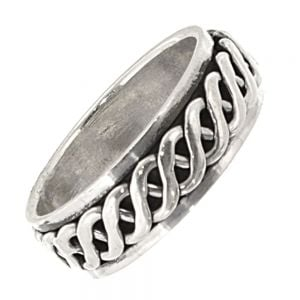 Sterling Silver Jewellery: Unisex Celtic Ring with Sailor's Knot Spinning Band