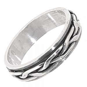 Sterling Silver Jewellery: Unisex Celtic Ring with Moving Knot Design Band
