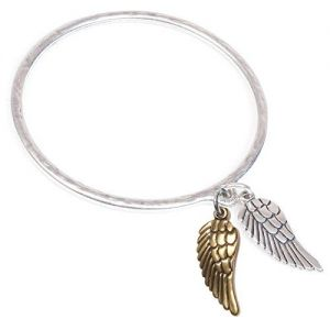Mixed Metal Danon Jewellery: Bangle with Bronze and Silver Angel Wing Charms