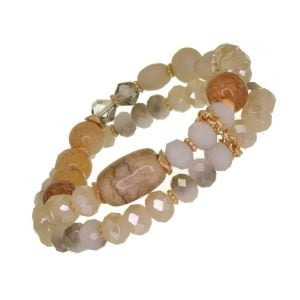 Gorgeous Fashion Jewellery: Gold and Cream Double Strand Stretch Bracelet with Clear Crystals and Semi-Precious Beads (DX5)A)