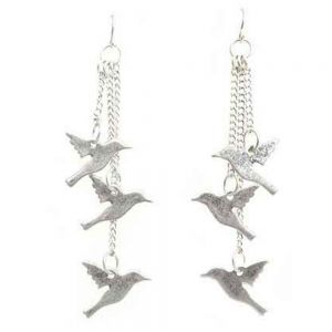Silver Bird Flock Earrings