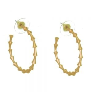 Contemporary Fashion Jewellery: 3cm Brass 3/4 Hoop Earrings with Jointed Look (I56)A)