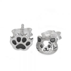 Cute Sterling Silver: Asymmetric Cat Face and Paw Stud Earrings (6mm x 5mm) (E410)