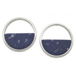 Contemporary Fashion Jewellery: Silver Circle Earrings Half-Filled with Navy Sodalite (1.8cm) (I26)F)