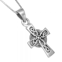 Sterling Silver Jewellery: Oxidised Celtic Cross Pendant (17mm x 35mm) (N381)