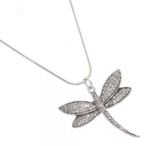 Simply Stunning Fashion Jewellery: Silver Snake Chain Necklace with a lovely crystal encrusted dragonfly Pendant (R287)
