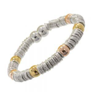 ulti-Tone Fashion Jewellery: Magnetic Silver Bracelet with Rose Gold and Gold Beads  4