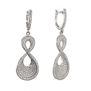 Sterling Silver and Crystal Chunky Infinity Drop Earrings
