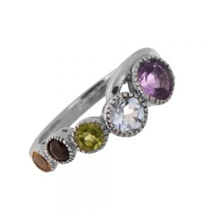 CLEARANCE SALE Sterling Silver Size P1/2 Ring with Amethyst, Topaz, Peridot, Garnet and Citrine (SL156)