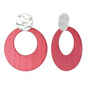 Statement Fashion Jewellery: Dimpled Matt Silver and Large Pink Disc Drop Earrings (55mm x 43mm) (YK101)p)