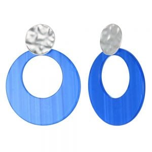Statement Fashion Jewellery: Dimpled Matt Silver and Large Blue Disc Drop Earrings (55mm x 43mm) (YK101)b)