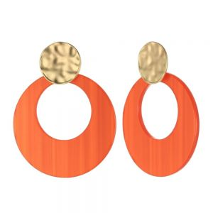 Statement Fashion Jewellery: Dimpled Matt Gold and Large Orange Disc Drop Earrings (55mm x 43mm) (YK101)O)