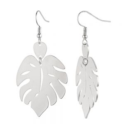 Gorgeous Fashion Jewellery: Shiny Silver Cheesplant Leaf Drop Earrings (5.8cm x 3.1cm) (YK73)s)