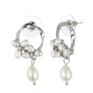 Modern Fashion Jewellery: Twisted Silver Circle Stud Earrings with Pearl and Crystal Embellishment (3.3cm x 1.8cm) (YK16)s)