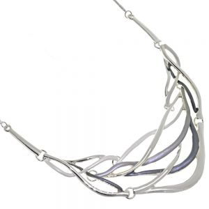 Statement Fashion Jewellery: Woven Design Silver and Grey Necklace with Shiny and Matt Pieces