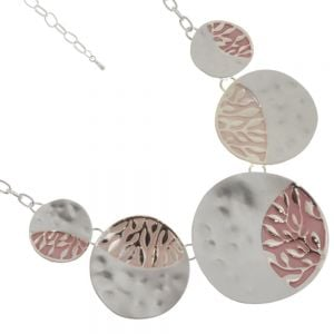Striking Fashion Jewellery: Necklace Made of Dimpled Circles with Leafy Pink Design