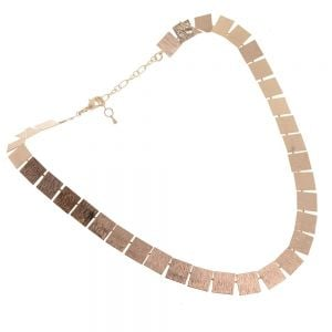 Beautiful Fashion Jewellery: Short Collar Necklace with Textured Matt Gold Squares