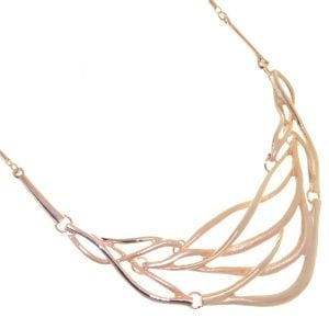 Statement Fashion Jewellery: Woven Design Rose Gold Necklace with Shiny and Matt Strands