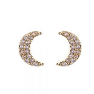 Celestial Fashion Jewellery: White Gold-Plated Small Crescent Moon Stud Earrings (8mm) (DX15)A)
