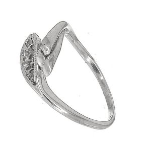 Lovely Sterling Silver Jewellery: Curving Contemporary Ring with CZ Crystals (SR94)