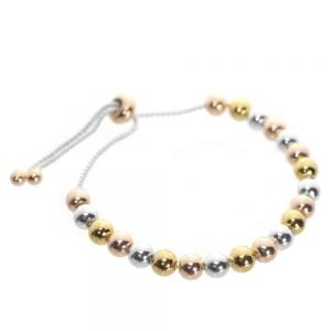 Multi-Tone Costume Jewellery: Rose Gold Tone Beaded Toggle Bracelet